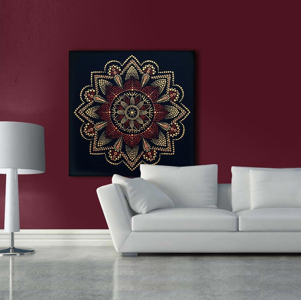 Mandala Dot Painting Art Design Muur Handgemaakt Schilderij Decoratie Op Canvas D30 01 T Code